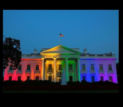 Rainbow White House PHOTO LGBT Gay Rights Barack Obama Support Marriage Equality