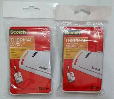 2 Pack Thermal Laminating Pouches Id Badge Clips 4 X 2 Scotch 3m - 20 Badges