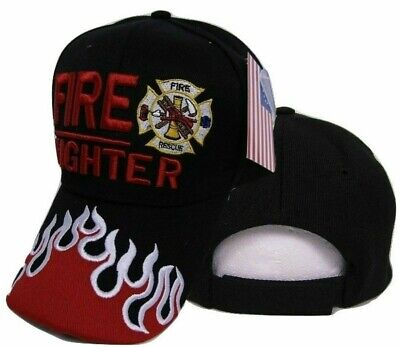 Fire Fighter Dept. Hat Department Search & Rescue Flames Embroidered Cap ()