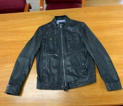 Hugo Boss Black Leather Jacket Size 52  Excellent Condition