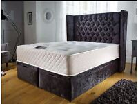Ottoman Crush Velvet Storage Double Bed with winged headboard