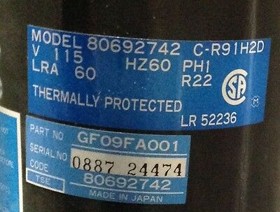 Discount Hvac Cp-p0361201 - Carrier Compressor Gf09fa001 115v R22 Free Freight