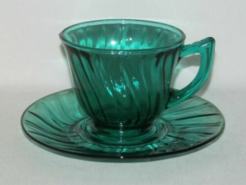 "Jeannette Glass Co SWIRL ""Petal Swirl"" Ultramarine Cup and Saucer Set"