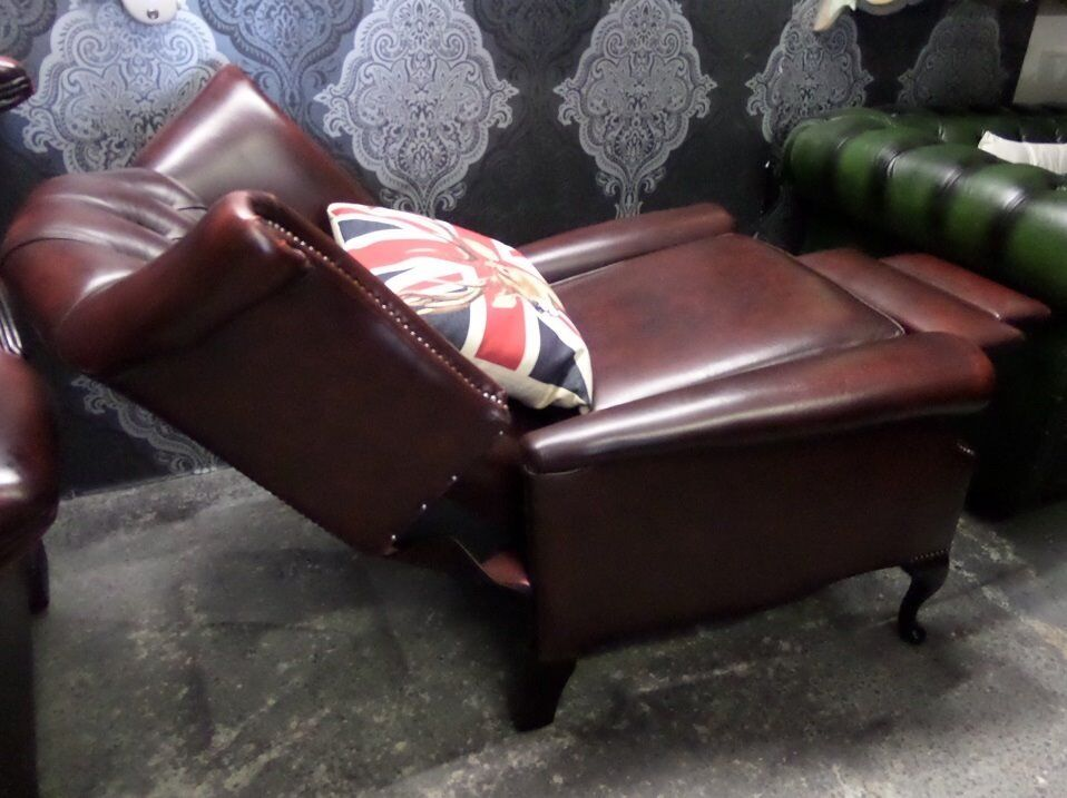 Attractive Immaculate Chesterfield Queen Anne Wing Back Recliner Chair Oxblood Red  Leather   UK Delivery