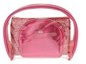 Claires 3-Pc Pink Glitter Makeup Bag Set NEW Cosmetic Bag Pink