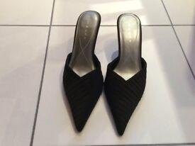 Black satin shoes, size 5