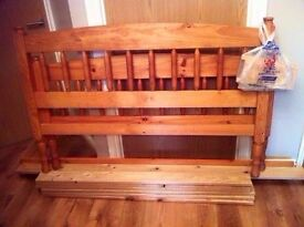 heavy solid wood pine double bed slept in one weekend only(guest room as new)mattress/mattress cover