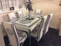**BRANDED NEW VERSAC DINING SET** HIGHLY GLASS ONE EXTENDABLE TABLE WITH STYLISH CHAIRS