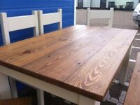 Reclaimed Timber Dining Kitchen Table 5ft with four chairs and bench painted