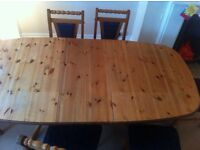 Large pine wood dining table with 6 chairs