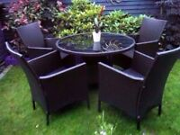ALL YEAR ROUND luxury high quality rattan patio set large table 4 armchairs (next)