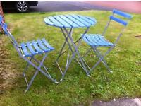 Bistro garden/patio table and chairs metal frame folding