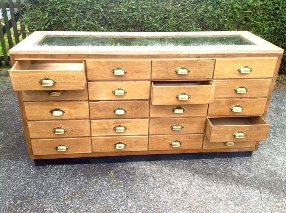 Haberdashery cabinet solid oak glass top open back 20 drawers ...