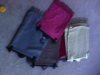 Five wool/cotton Unworn pashminas in grey/beige/pink/brown/wine Capsule Pieces