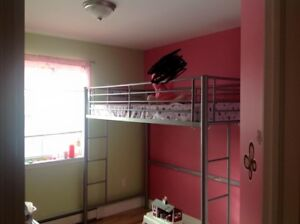 Metal Twin Loft Bed Silver