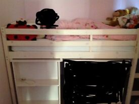 Mid-sleeper bed with pull out desk