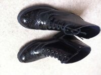 Brand New Carvela Kurt Geiger Size 36 / UK4 black patent lace up zip ankle boots RRP £90