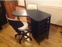 Nail Bar black with 4 drawers and 2 cream Salon Chairs