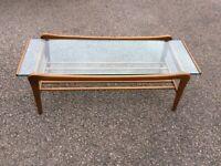 Vintage MCM Coffee Table - Solid Wood / Glass Mid Century Modern Retro