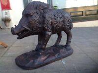 Pair of cast iron deer (heavy garden furniture) boar