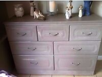NEED STORAGE?? large solid chest of drawers on wheels and very deep storage drawers - easily moved