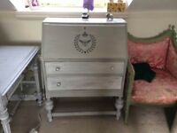 Lovely grey chalk painted vintage desk and chair, ideal for smaller spaces.
