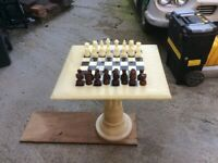 Marble chess table and pieces 57 x 64 cm top and 60 high