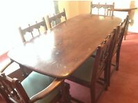 Ercol Old Colonial, refectory table, four chairs and two carver chairs.