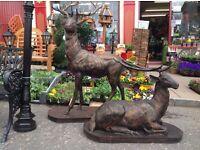 Pair of cast iron deer (heavy garden furniture)