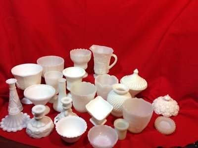 Milk Glass Vases Candlesticks Candy Dishes Pitchers Covers Bowls etc (*JM)