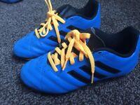 football boots blue black orange 2 uk size