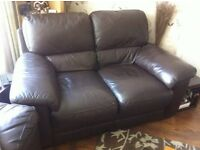 Harveys Brown leather 2 seater sofa and chair