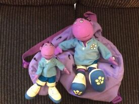 Tweenies Milo Purple BACKPACK & BEANIE PLUSH TOY £5 or Both items