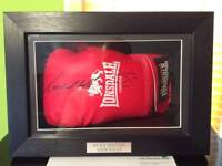 Signed Ricky hatton, Amir khan boxing glove in case the name plaque is abit damaged