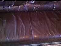 *FREE* 2 & 3 seater , Brown leather sofa (Worn)