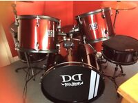 DD DEVIL DRUM KIT-5 pc JUNIOR with accessories included (silencer pads/sticks/music stand)