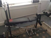 Pro Power Weight Bench Including 107.5kg In Cast Iron Weights And X 2 Pairs Of Dumbell Bars