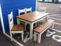 Chunky Rustic Solid Timber Table 4 Chairs and Bench, Painted