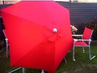 red garden patio set, 4 armchairs, large table and XXL parasol matching set excon as never been used