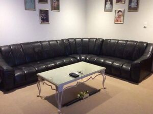 Black leather lounge Klemzig Port Adelaide Area Preview