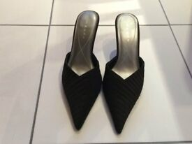 Black satin court shoes, size 5