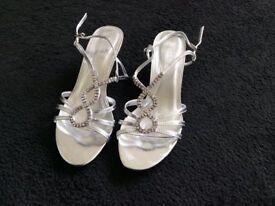 Silver diamante sandals, size 5 - ideal for festive party nights!