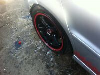 15 inch Lenso Black & Red Alloy Wheels