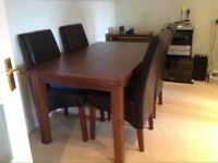 LATGE OAK DINING RM TABLE + 4 CHAIRS