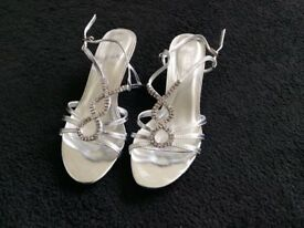 Silver diamante sandals, size 5 - ideal for New Year!