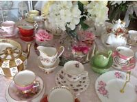 Beautiful fine bone china and prop hire for weddings and special events / birthdays / christenings