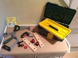 "Theo Klein Bosch Toy Tool Box plus a 4 Piece ""Builders"" role play Accessory set in VGC"
