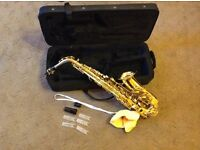 Alto saxophone with case, strap, cap, cleaner, reed holders.