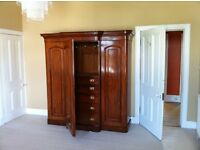Stunning Victorian mahogany 3 door wardrobe for sale
