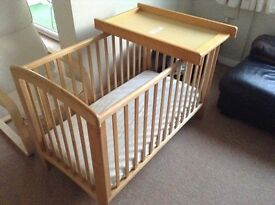 John Lewis cot with changing top
